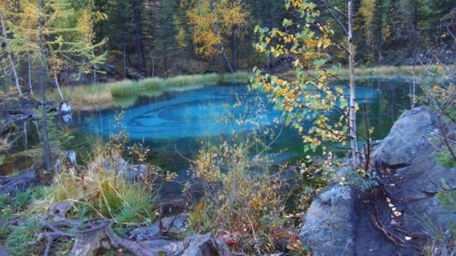 アルタイ山脈で青い間欠泉湖のパノラマ ビデオ