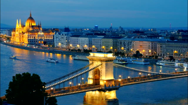 Panorama of Budapest, Hungary Panorama of Budapest, Hungary. Chain Bridge and the Parliament. Timelapse hungary stock videos & royalty-free footage