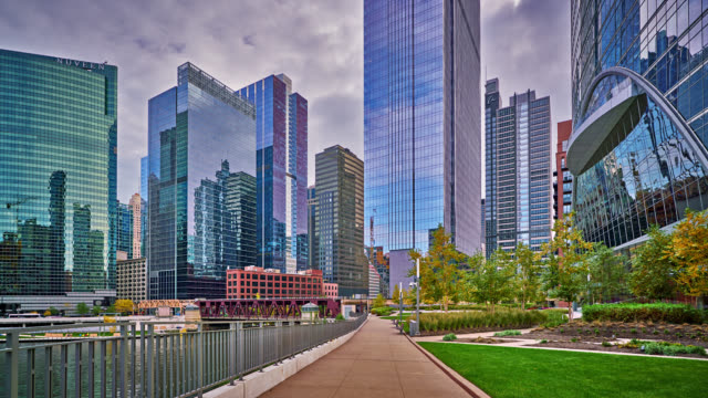Panorama of Chicago. Residental and business districts Cityscape office park stock videos & royalty-free footage