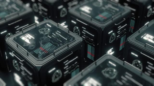 立方體形式的數位物件的全景。數位資料的存儲。電腦中心。 - 人造的 個影片檔及 b 捲影像