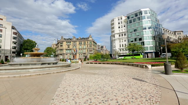 Panorama of Elliptic square located in Bilbao city center, sightseeing in Spain video