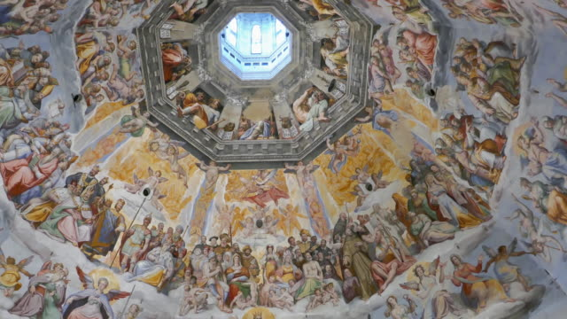 Panorama of frescoes inside of Dome in Florence Santa Maria del Fiore Cathedral, Italy Frescoes inside of Florence Cathedral Dome mural stock videos & royalty-free footage