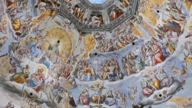 Panorama of frescoes inside of Dome in Florence Santa Maria del Fiore Cathedral, Italy Frescoes inside of Florence Cathedral Dome renaissance architecture stock videos & royalty-free footage
