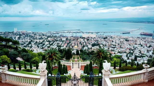Panorama of Haifa - port and Bahai gardern, Israel video