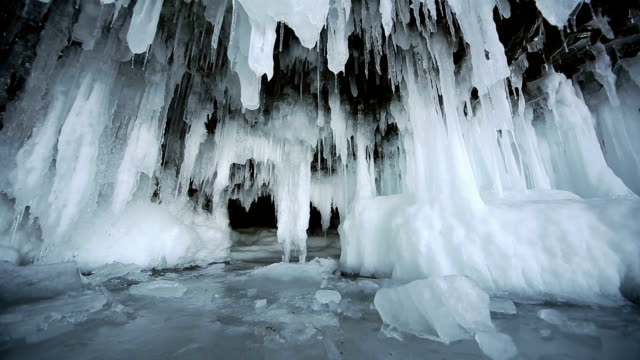 Panorama of Hanging Icicle Icicle (Stalactite) Hanging Inside the Rocky Caves, panoramic view, Lake Baikal siberia stock videos & royalty-free footage