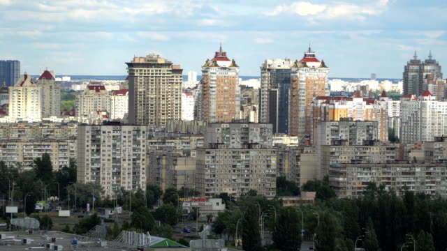 panorama of kiev city center timelapse - post modern architecture stock videos & royalty-free footage