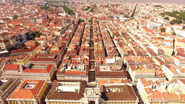 Panorama of Lisbon and the Castle Sao Jorge aerial view video