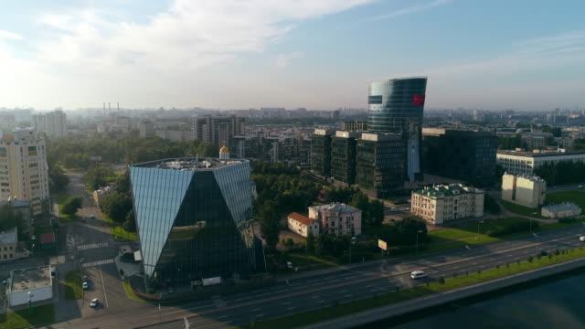 panorama of modern skyscrapers in st. petersburg - san pietroburgo russia video stock e b–roll