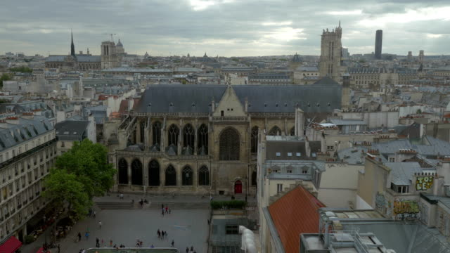 Panorama of Paris on cloudy day video