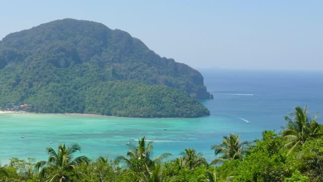 Panorama of Phi-Phi island, Krabi, Thailand, 4k