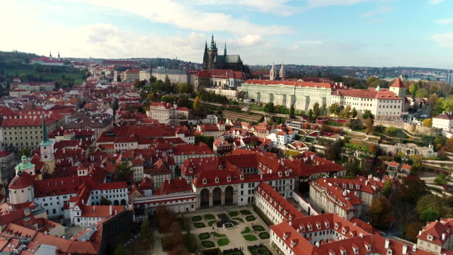 panorama of prague, aerial of the city, view from above on the cityscape of prague, flight over the city, area old town, prague castle and vltava river, czech republic, prague - europa wschodnia filmów i materiałów b-roll