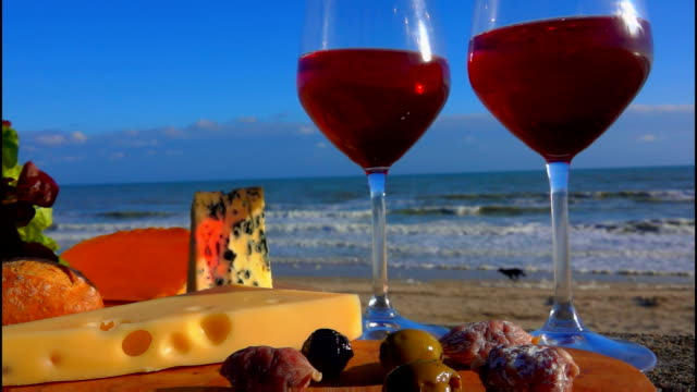 Panorama of romantic picnic by the sea - video
