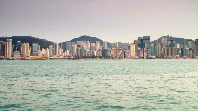 Panorama of the Bay in Hong Kong video