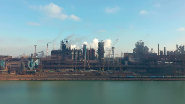 Panorama of the metallurgical plant. Plant for metal fabrication. The view from the top of the plant. Manufacturing, steel factory