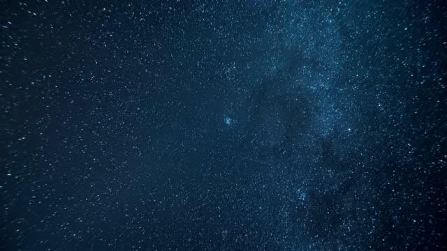 운 석 비와 우주 공간 및 다른은 하를 통해 눈은 하 수의 파노라마 - 유성 스톡 비디오 및 b-롤 화면