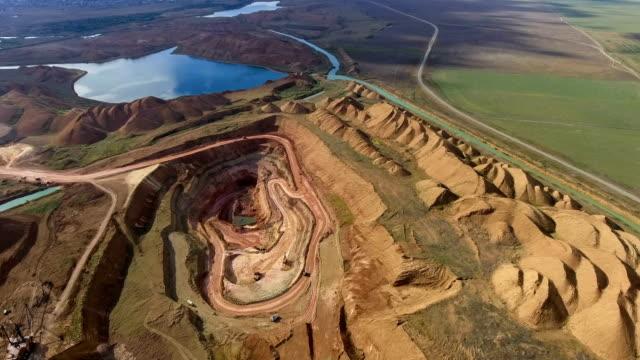 panorama des steinbruchs. künstlicher see. sonnenuntergang. horizont. entwicklung von mineralien. - aluminium stock-videos und b-roll-filmmaterial