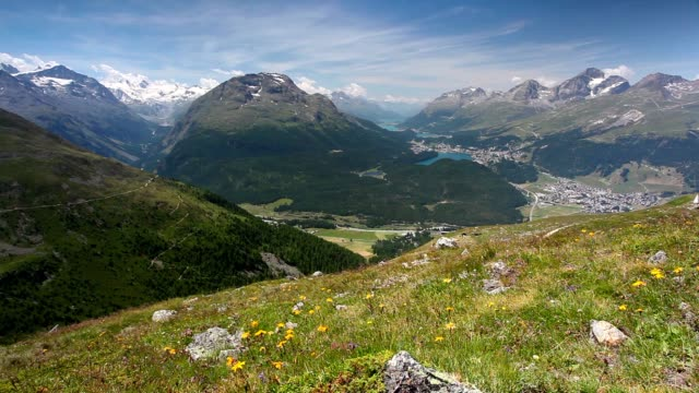 Panorama of the Upper Engadine from Muottas Muragl, Switzerland video