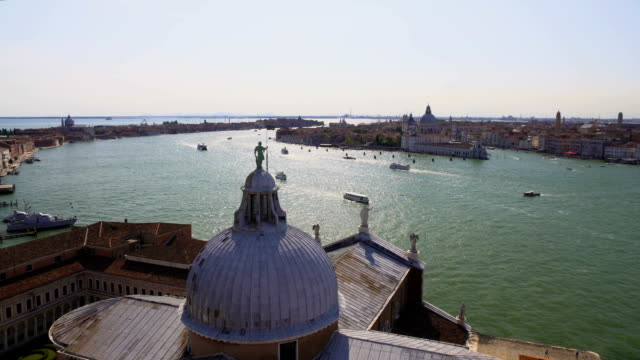 Panorama of Venice and Grand Canal from top of St. George's Church, tourism video