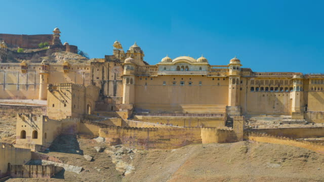 Panorama on Amber Fort, famous travel destination in Jaipur, Rajasthan, India. video