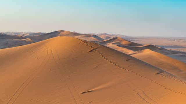 Panorama on colorful sand dunes and scenic desert in Namibia video