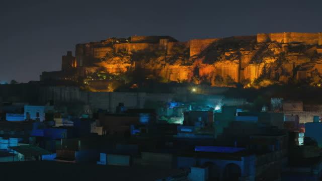 Panorama on Jodhpur cityscape by night video