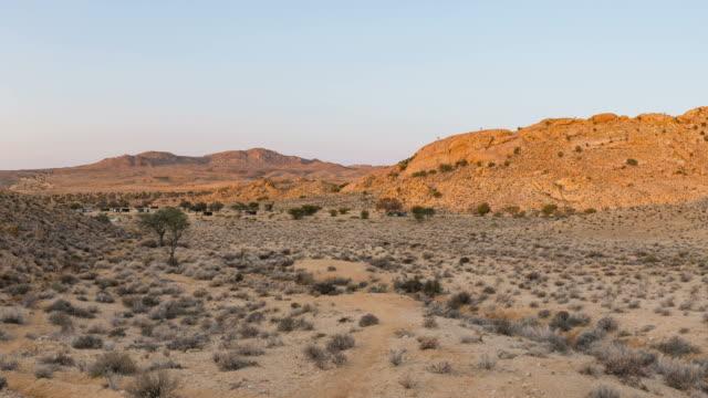 Panorama on the Namib desert at sunset, Aus, Namibia, Africa. Panorama on the Namib desert at sunset, Aus, Namibia, Africa. tanzania stock videos & royalty-free footage