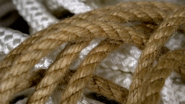 Panorama set rope of brown, white in form spiral closeup. Rope background design