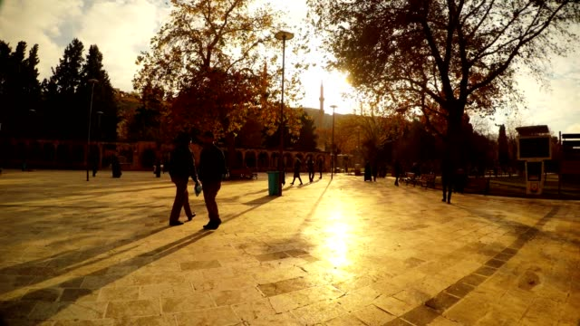 Panorama Square near Hasanpasha Mosque Setting Sun Urfa video