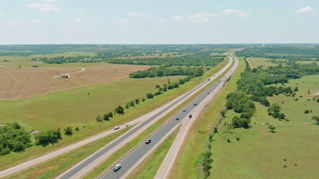 Panorama top view of original Route 66 roadbed near Clinton Oklahoma.