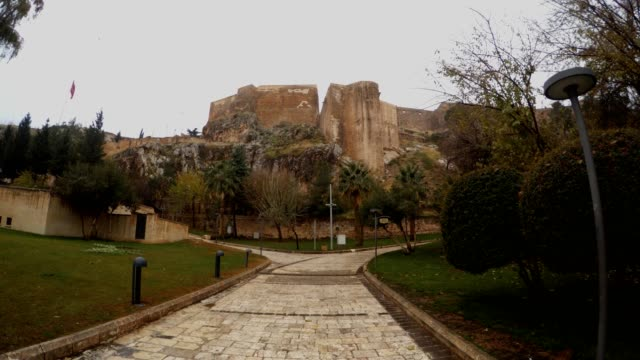 Panorama Urfa Castle Cloudy Wintry Day Park around video