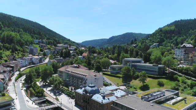 Panorama view of downtown Bad Wildbad from above video