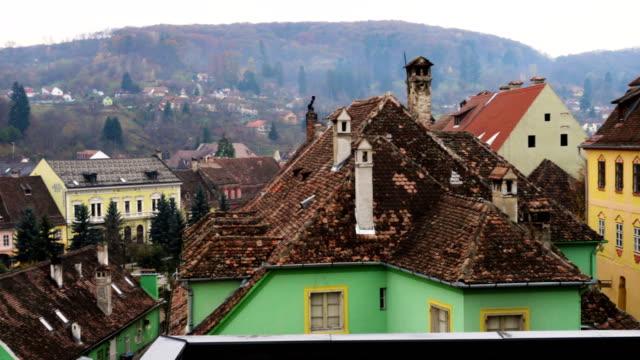panorama view of Sighisoara town at Romania video