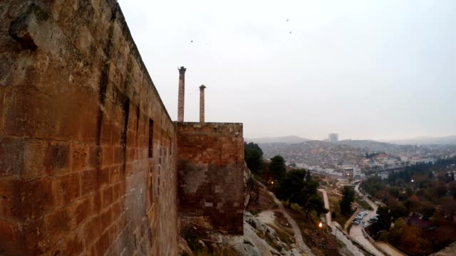 Panorama Walls of Urfa Castle Two Columns and City Cloudy Wintry Day video