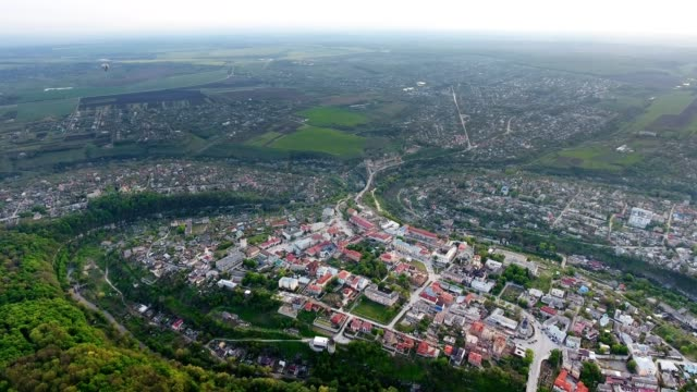 Panoramic Aerial drone view of old city