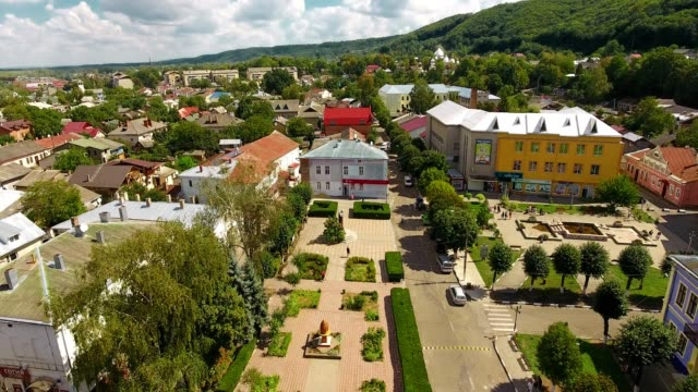Panoramic Aerial drone view of small town