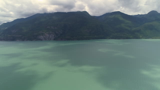 Panoramic Aerial Rotating Ocean Islands and Turquoise Water of Howe Sound by Sea to Sky Highway video