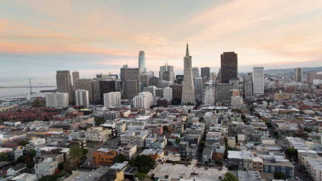 Panoramic Aerial Sunset View of San Francisco New Emerging Downtown Skyline. video