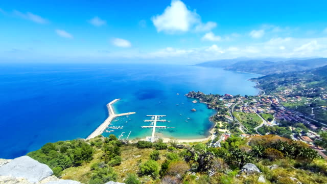 panoramic aerial view of cefalu city, sicily, italy - palermo città video stock e b–roll