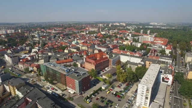 panoramic aerial view of gliwice in silesia region of poland - polonia video stock e b–roll