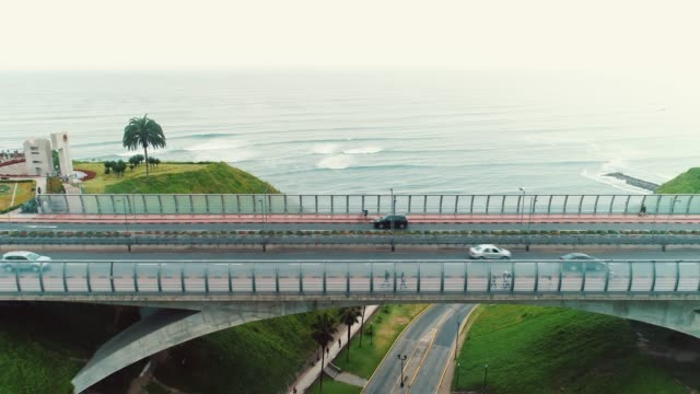 Panoramic aerial view of Miraflores district coastline in Lima, Peru.