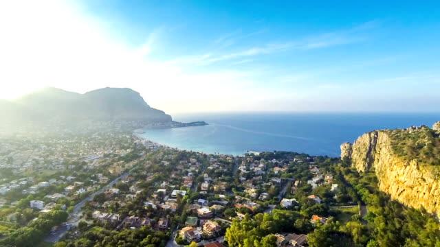 panoramic aerial view of mondello beach, palermo, sicily, italy - palermo città video stock e b–roll