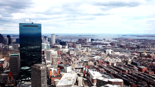 Panoramic aerial view of the city of Boston, Massachusetts video
