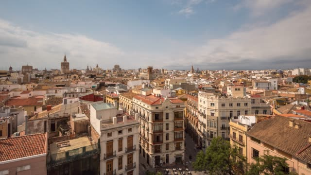 Panoramic aerial view old town of Valencia, Spain
