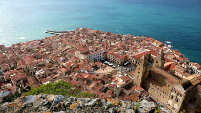 panoramic bird's-eye view of the central part of the cefalu city - sicily filmów i materiałów b-roll