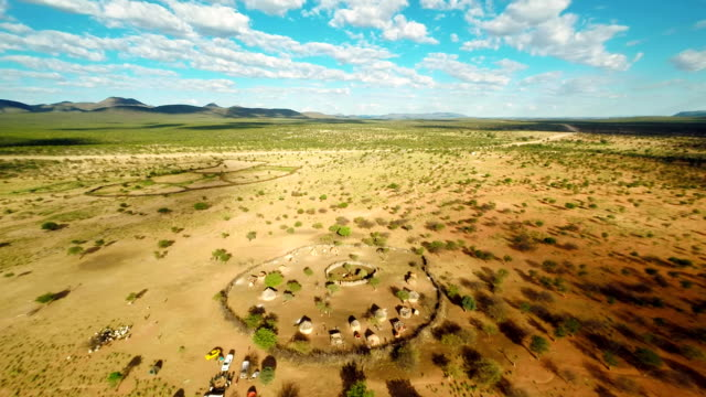 HELI Panoramic Namibian Landscape With The Himba Village video