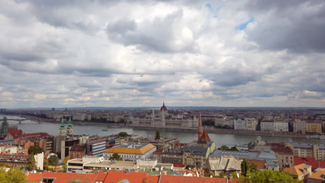 Panoramic of Danube river and Chain Bridge in Budapest in Hungary