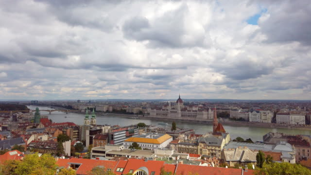Panoramic of Danube river and Chain Bridge in morning in Budapest in Hungary