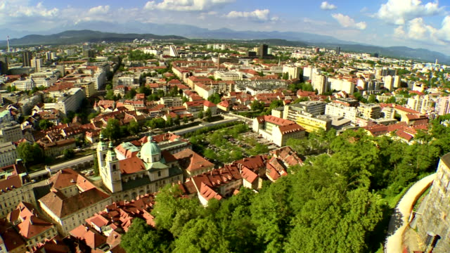 WS AERIAL Panoramic Of Ljubljana video