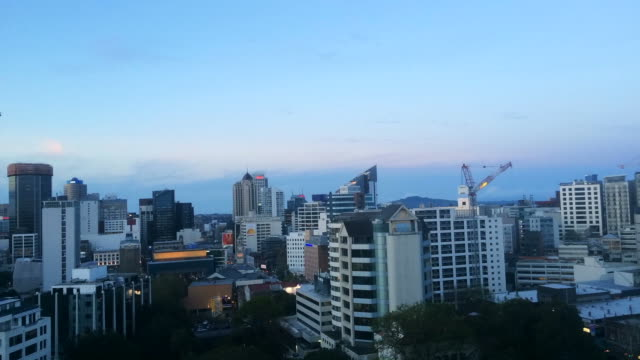 Panoramic panning and rotation view of Auckland  skyline video