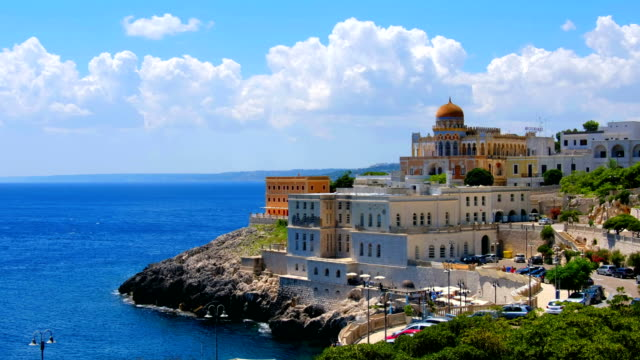 panoramic Salento landscape Apulia Santa Cesarea Terme village Lecce panoramic Salento landscape Apulia region - Santa Cesarea Terme village - Lecce province south stock videos & royalty-free footage